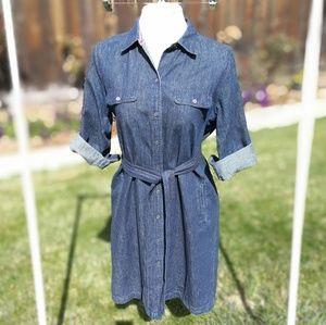 Talbots dark wash button up denim dress